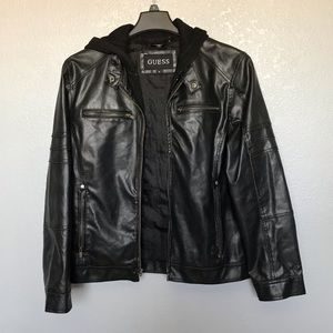 Guess Faux Leather Bomber Hooded Jacket Black sz M